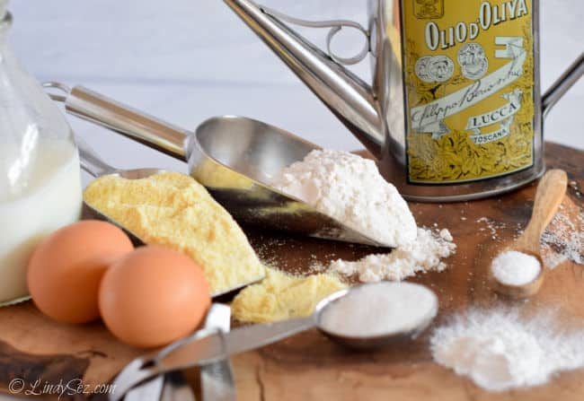 All of the ingredients ready to make Polenta Muffins.
