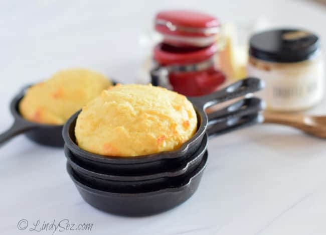 Polenta Muffins served in mini cast iron pots.