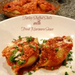 a plate of Turkey Stuffed Shells with Fresh Mairinara