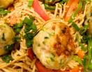 Ginger Pork Meatballs on Soba Noodles with Peanut Sauce header shot