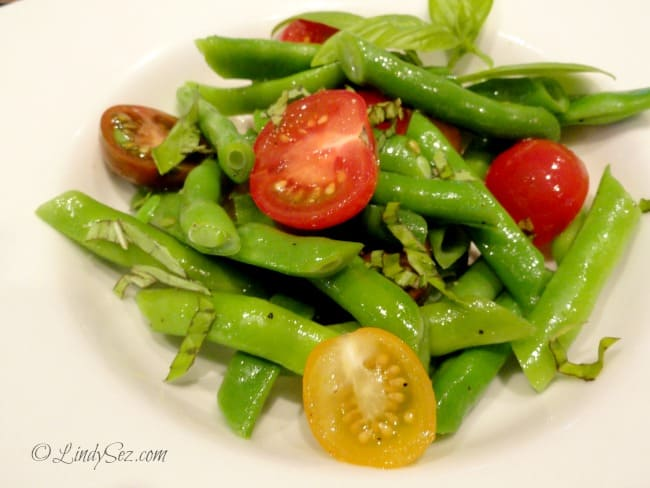 Green Bean and Cherry Tomato Salad served in a white bowl