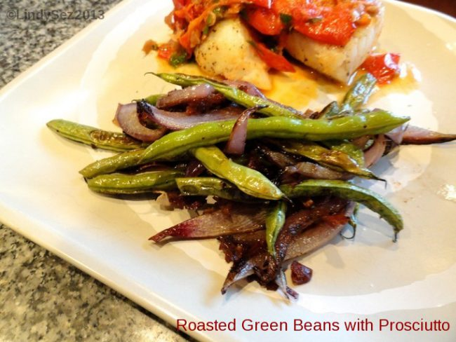 A plate with Roasted Green Beans and Halibut