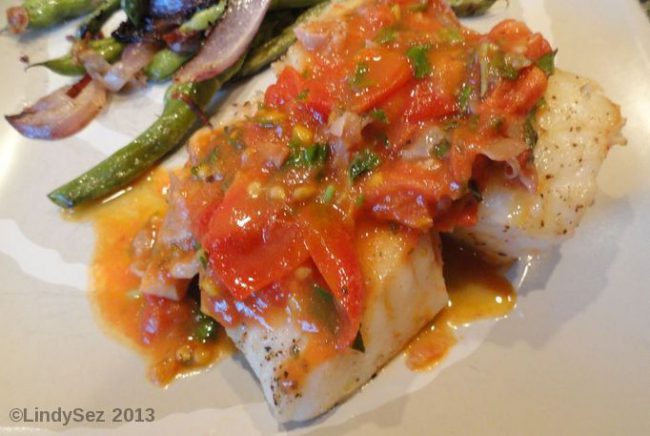 Pan Seared Halibut with Fresh Tomatoes