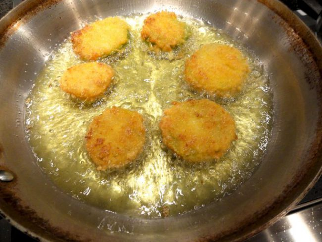 Double Dipped Fried Green Tomatoes Frying in Oil
