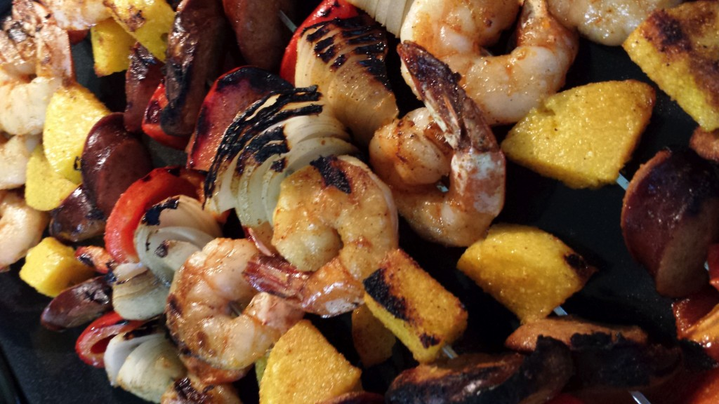 Megan's Spicy Shrimp, Sausage and Polenta Skewers