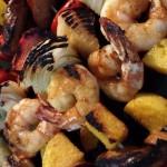 Megan's Spicy Shrimp, Sausage and Polenta Skewers