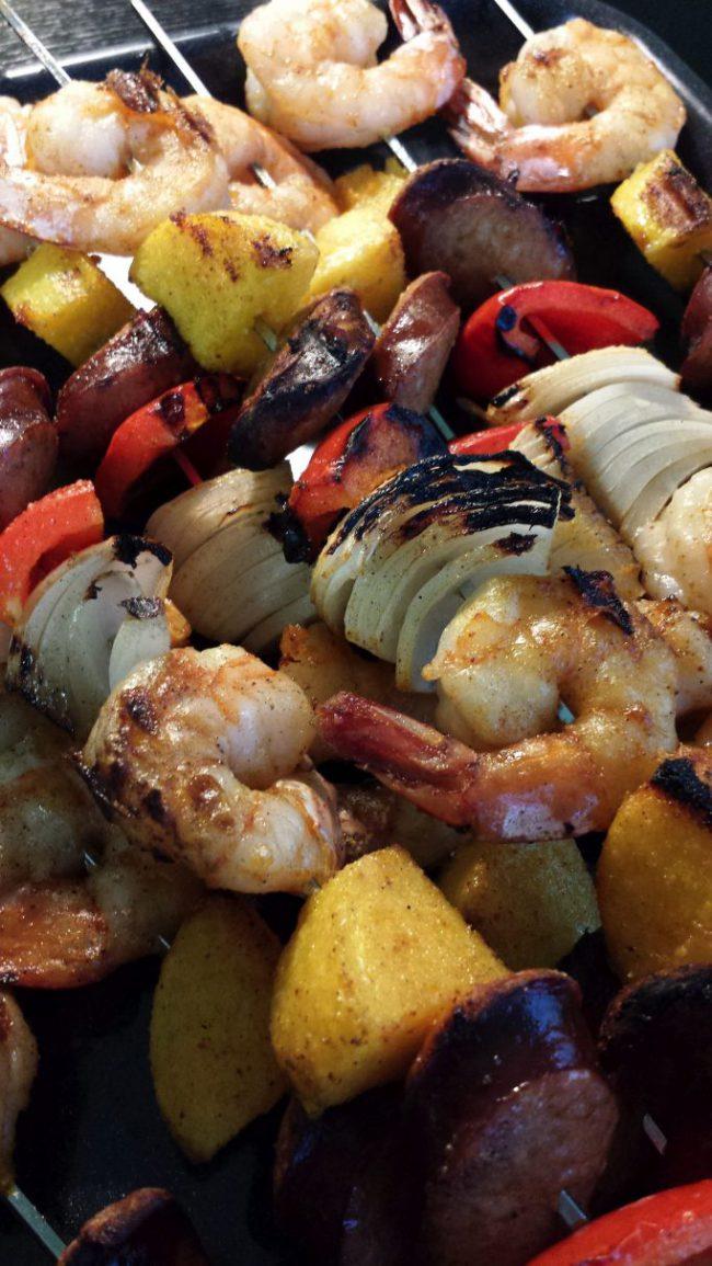 Spicy Shrimp, Sausage and Polenta Skewer