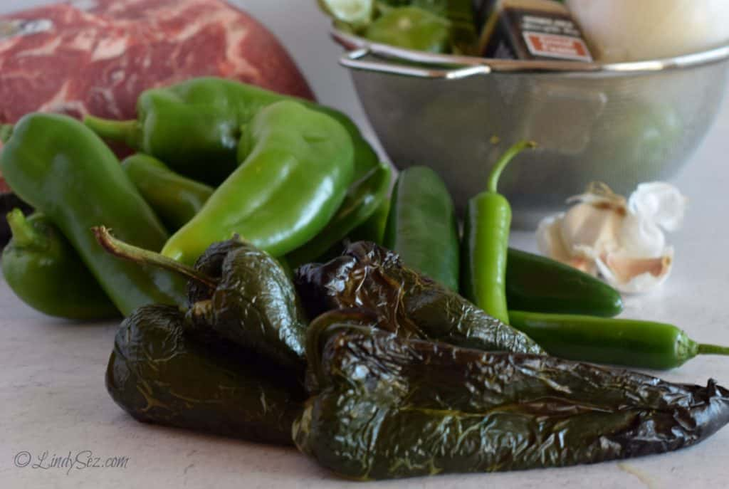 A lot of chiles to add to our pot of chili verde.