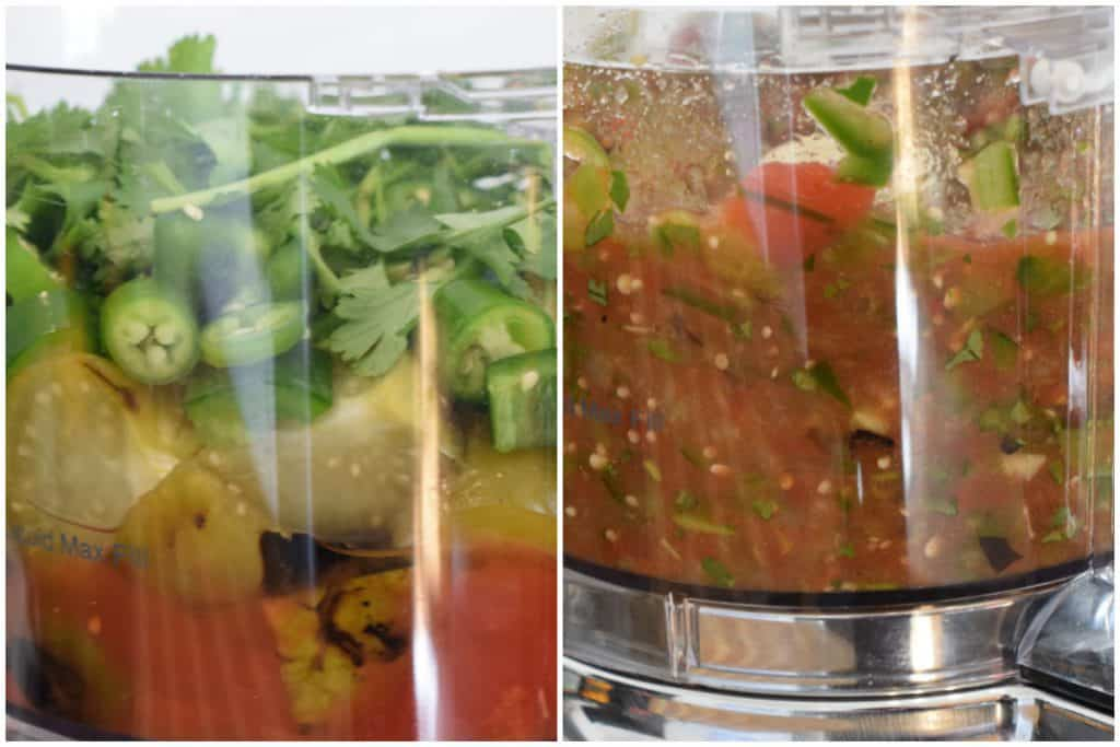 A combination of peppers and tomatillos being blended to add to the pot of Chili Verde.