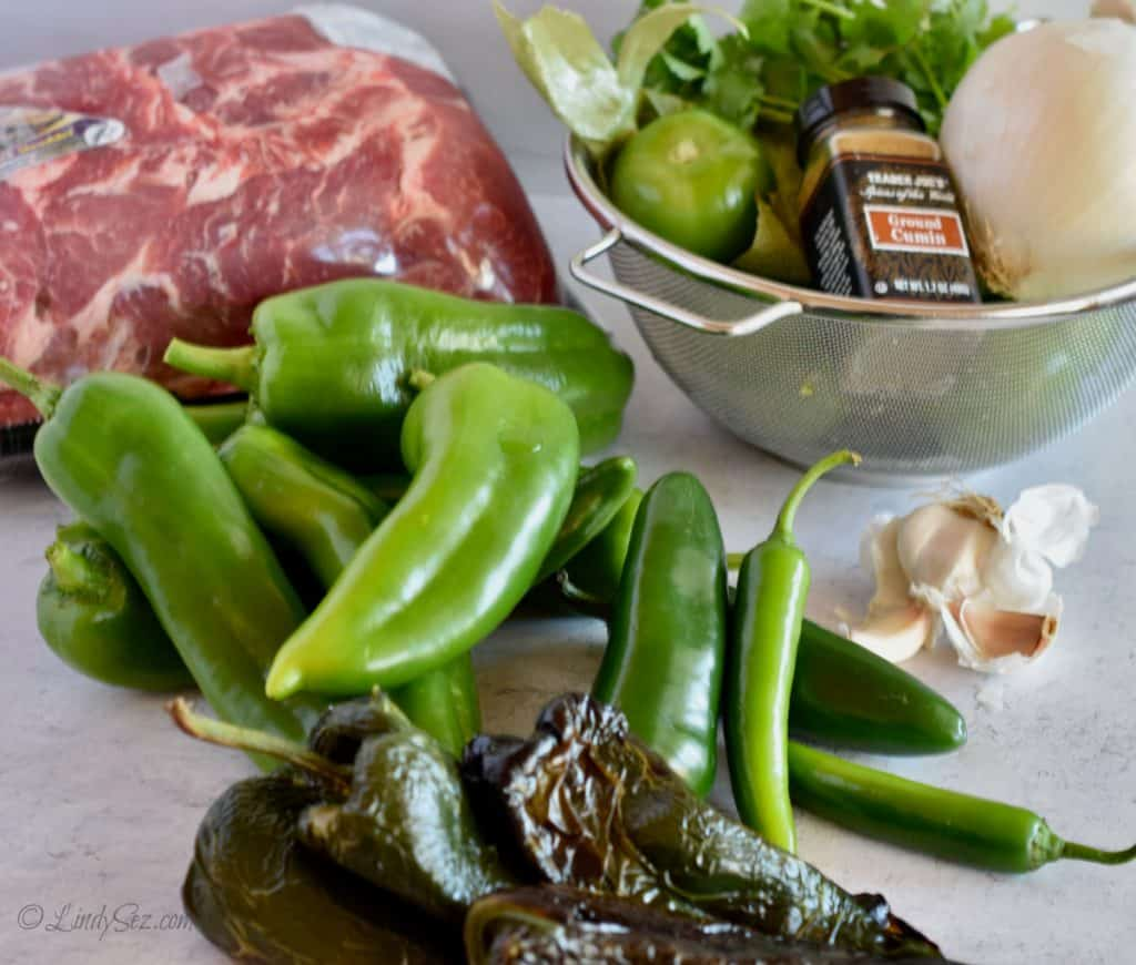 The many chiles and other ingredients needed to make chili verde.