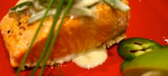 Baked Salmon with a Light Lime Jalapeño Cream Sauce - LindySez