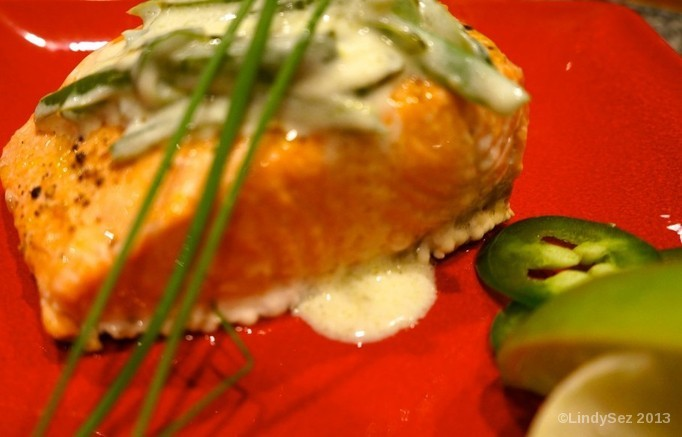 Baked Salmon with a light lime jalapeño cream sauce
