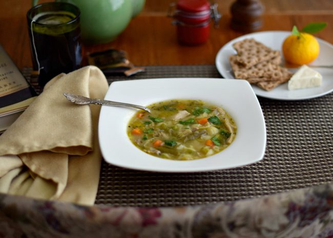 homemade turkey soup made with leftovers