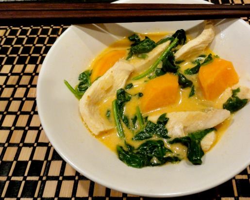 Thai Chicken Curry with Sweet Potatoes and Spinach