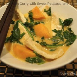 Thai Chicken Curry with Sweet Potatoes and Spnach