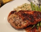 Blackberry Balsamic Chicken Breasts served with rice and green beans