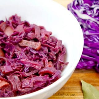 A white bowl filled with delicious German Style Sweet and Sour Red Cabbage