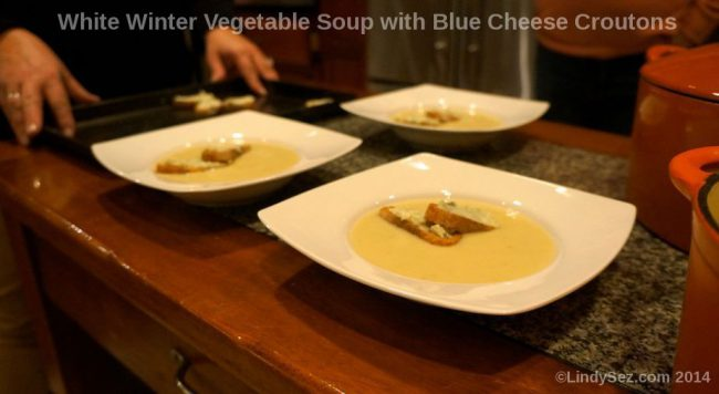 White Winter vegetable Soup with Blue Cheese Croutons