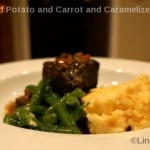 Mashed Potato and Carrot with Caramelized Onions with roast meat