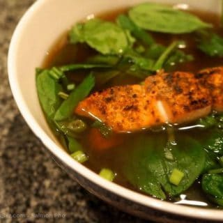 salmon pho in a bowl