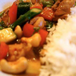 Spicy Cashew Chicken with Asparagus
