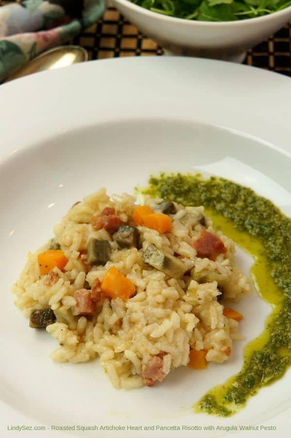 Roasted Squash Artichoke Heart and Pancetta Risotto with Arugula Walnut Pesto
