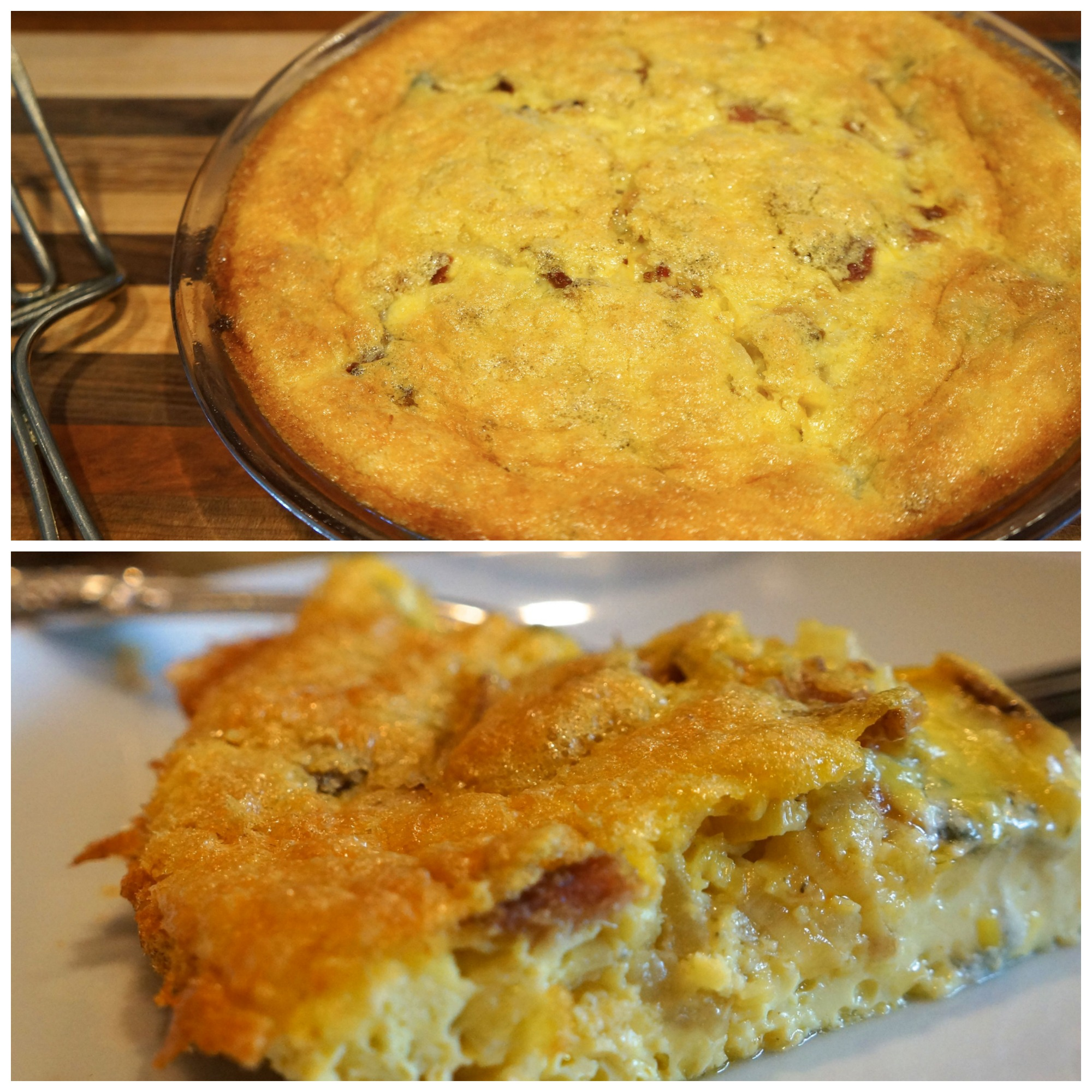crustless onion leek and blue cheese quiche lindysez