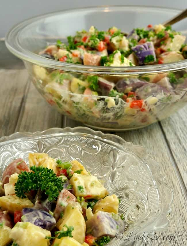 Low-Fat Potato Salad served in glass bowl
