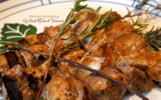 Savory Rosemary Grilled Halibut Skewers