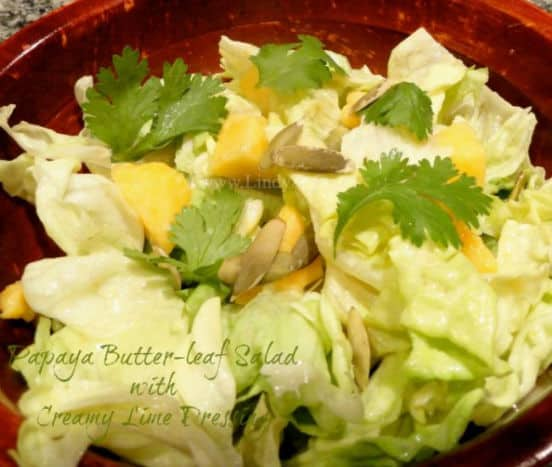 A close up of a bowl of butter leaf salad with creamy lime dressing.