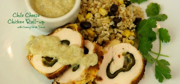 chile cheese chicken roll-up with creamy verde sauce