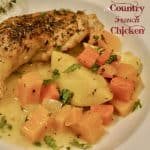 Country French Chicken on a white plate.