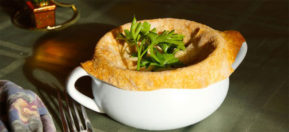Lindy's homemade turkey pot pie in a too large of a crock
