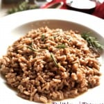 Red Wine Rosemary Risotto in a large white bowl