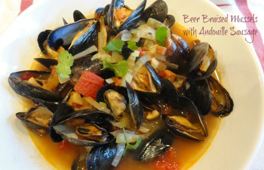 Beer Braised Mussels with Andouille Sausage