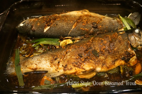Asian style oven steamed trout lindysez for Steam fish in oven