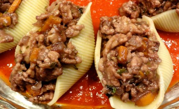 Turkey Stuffed Shells with Fresh Marinara Sauce a close up view
