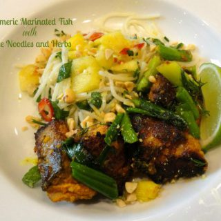 Turmeric Marinated Fish with Rice Noodles and Herbs