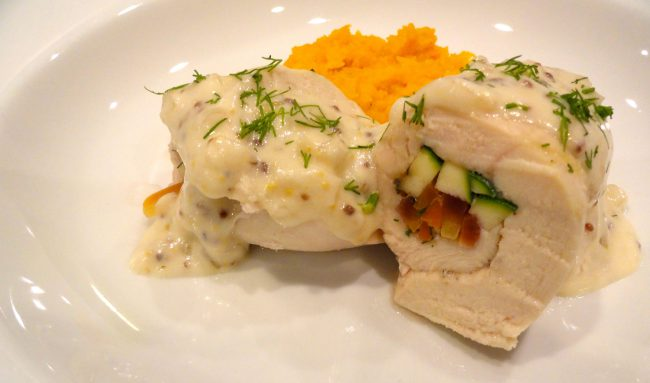chicken roulade with champagne sauce