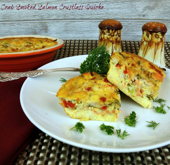 crab and smoked salmon crustless quiche on a plate