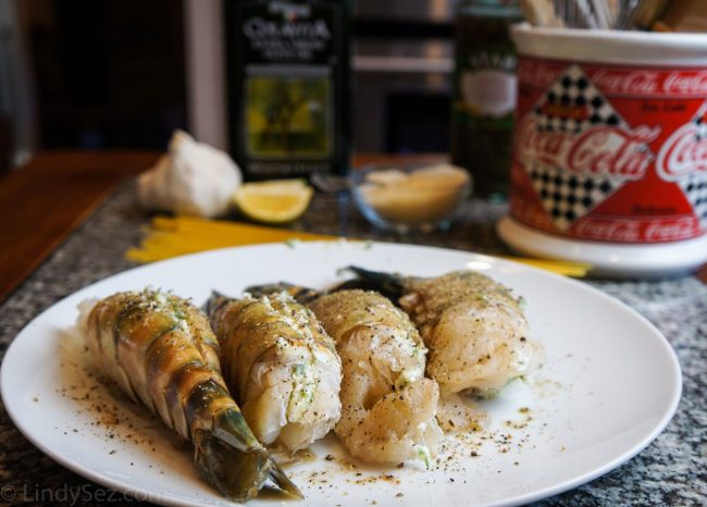 BBQ Shrimp Scampi with Garlic Spaghetti