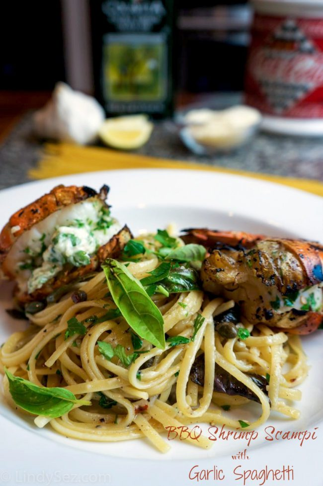 BBQ Shrimp Scampi with Garlic Spaghetti