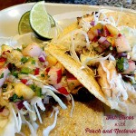 fish taco with peach and nectarine salsa