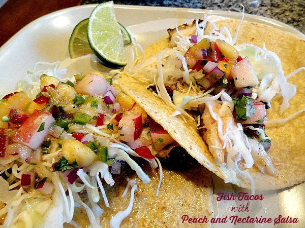 fish tacos with peach and nectarine salsa served