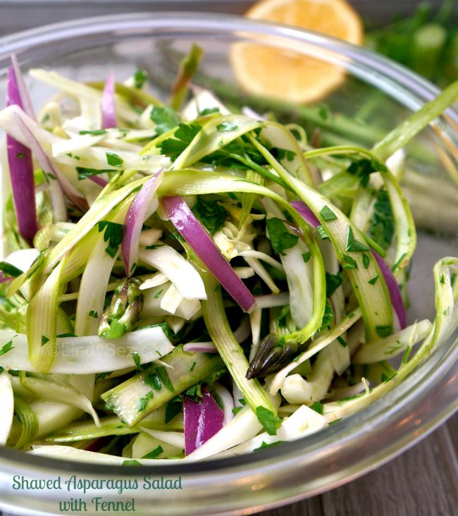 A bowl with Shaved Asparagus Salad with Fennel