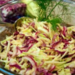 cabbage-fennel-apple slaw in a bowl