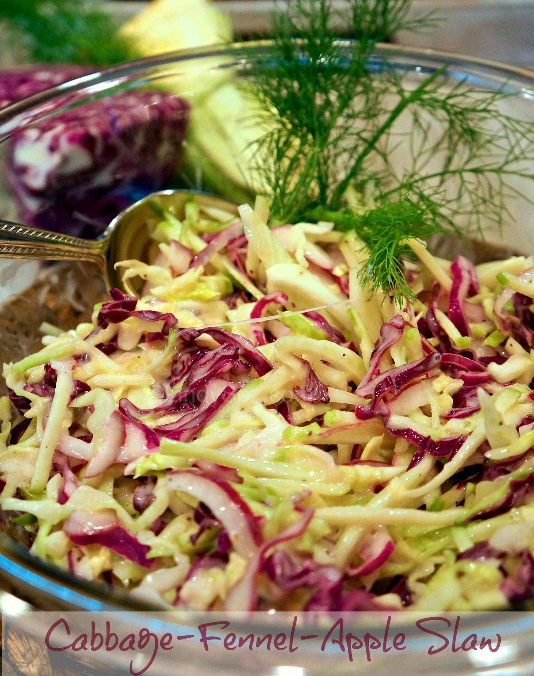 Cabbage-Fennel-Apple Slawin a bowl