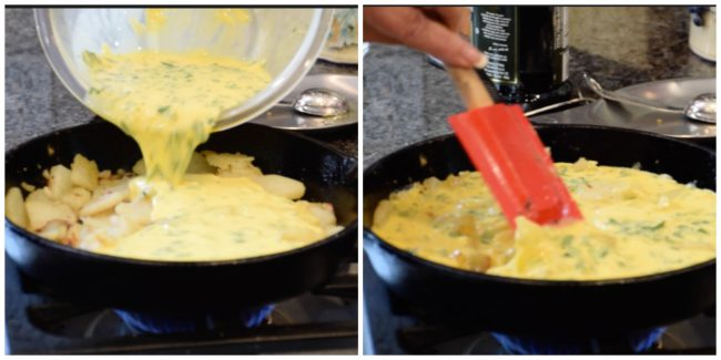 eggs being poured into a pan for Spanish Tortilla-my way