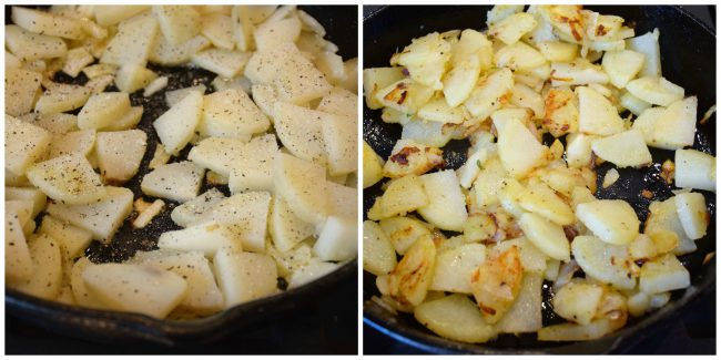 potatoes and onions being cooked for Spanish Tortilla-my way