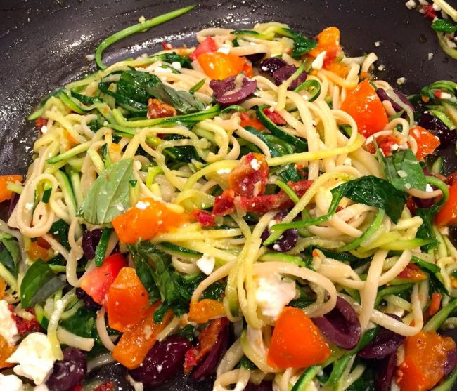 Zucchini Spaghetti with Linguine, Olives and Feta